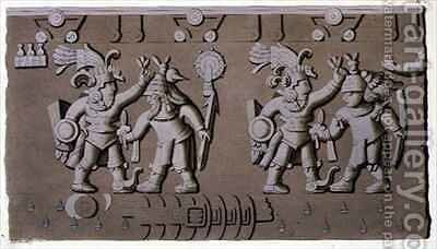 Bas Relief Of Ancient Aztec Warriors Painting By D K Bonatti Reproduction 1st Art Gallery