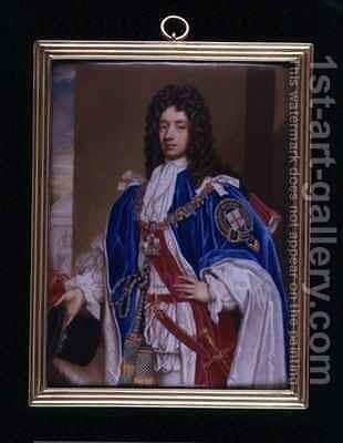 Portrait miniature of John Manners, 2nd Duke of Rutland (1676-1721) in Garter Robes by Charles Boit - Reproduction Oil Painting