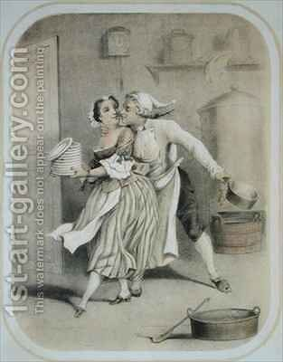 Lust in the Kitchen by (after) Louis Leopold Boilly - Reproduction Oil Painting