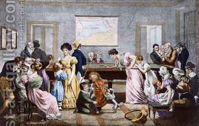 A Billiard Room in the nineteenth century by (after) Boilly, Julien Leopold - Reproduction Oil Painting