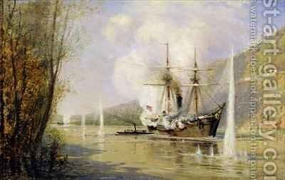 The Russian Destroyer 'Shutka' attacking a Turkish ship on the 16th June 1877 by Aleksei Petrovich Bogolyubov - Reproduction Oil Painting