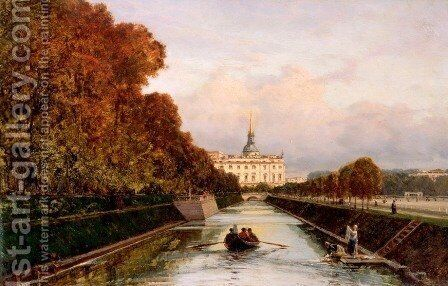 View of the Lebyazhyeva Canal looking towards the Mikhailovsky Palace, St. Petersburg by Aleksei Petrovich Bogolyubov - Reproduction Oil Painting