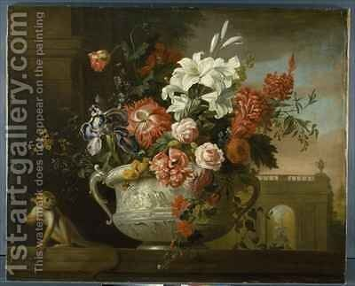 Still life with flowers in an urn, with a monkey, on a ledge by (after) Boggi, Giovanni - Reproduction Oil Painting
