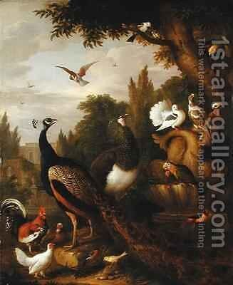 Peacock, peahen, parrots, canary, and other birds in a park by (after) Boggi, Giovanni - Reproduction Oil Painting
