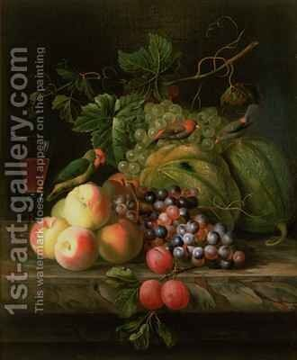 Still life of fruit on a ledge with Parakeets by (after) Boggi, Giovanni - Reproduction Oil Painting