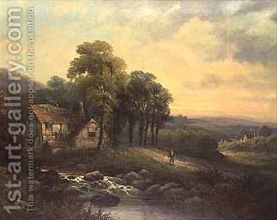 Cottage at Sunset by J. Boel - Reproduction Oil Painting