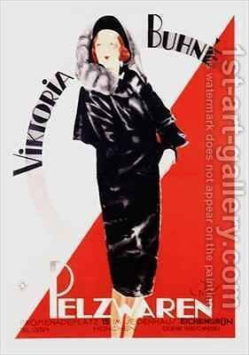 Poster advertising Viktoria Buhne Furs by E. Boehn - Reproduction Oil Painting