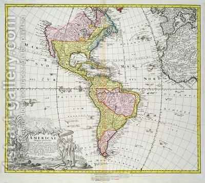 Map of the Americas by A. Gottlieb Boehm - Reproduction Oil Painting