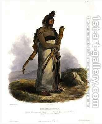 Mexkemahuastan, Chief of the Gros-Ventres of the Prairies by (after) Bodmer, Karl - Reproduction Oil Painting