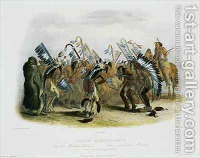 Ischoha-Kakoschochata, Dance of the Mandan Indians by (after) Bodmer, Karl - Reproduction Oil Painting