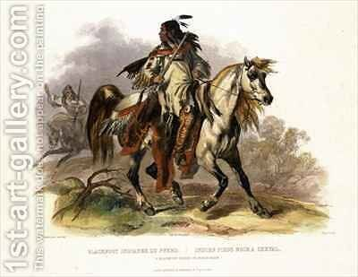 A Blackfoot Indian on Horseback by (after) Bodmer, Karl - Reproduction Oil Painting