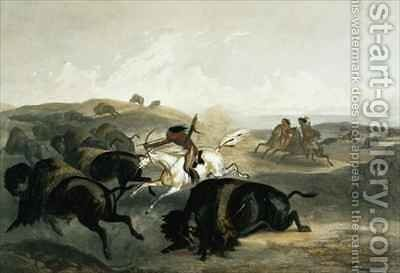 Indians Hunting the Bison by (after) Bodmer, Karl - Reproduction Oil Painting