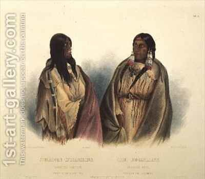 Woman of the Snake-Tribe and Woman of the Cree-Tribe by (after) Bodmer, Karl - Reproduction Oil Painting