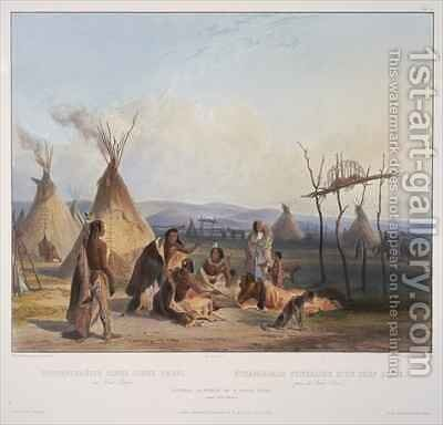 Funeral scaffold of a Sioux chief near Fort Pierre 2 by (after) Bodmer, Karl - Reproduction Oil Painting