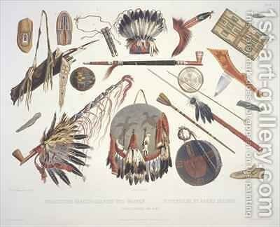 Indian utensils and arms 3 by (after) Bodmer, Karl - Reproduction Oil Painting