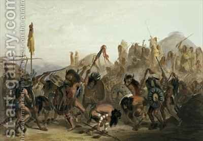 Bison-Dance of the Mandan Indians in front of their Medicine Lodge in Mih-Tutta-Hankush by (after) Bodmer, Karl - Reproduction Oil Painting