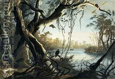 The Mouth of the Fox River, Indiana by (after) Bodmer, Karl - Reproduction Oil Painting