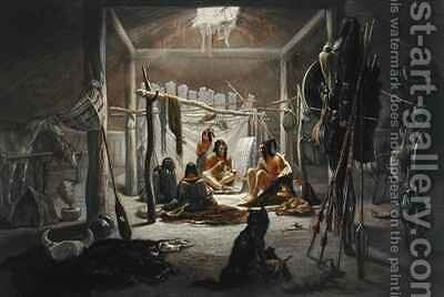 The Interior of the Hut of a Mandan Chief by (after) Bodmer, Karl - Reproduction Oil Painting