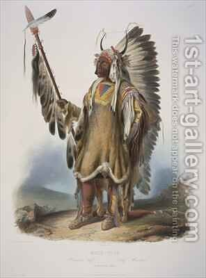 Mato-Tope, a Mandan chief 2 by (after) Bodmer, Karl - Reproduction Oil Painting