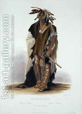 Wahk-Ta-Ge-Li, a Sioux Warrior by (after) Bodmer, Karl - Reproduction Oil Painting