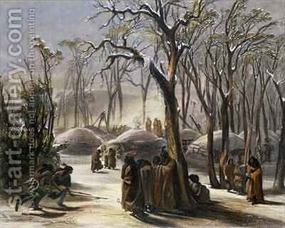 Winter Village of the Minatarres by (after) Bodmer, Karl - Reproduction Oil Painting