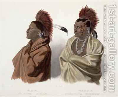 Massika, a Saki Indian, and Wakusasse, a Musquake Indian by (after) Bodmer, Karl - Reproduction Oil Painting
