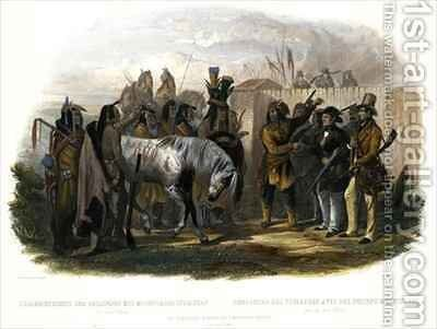 The Travellers Meeting with Minatarre Indians near Fort Clark by (after) Bodmer, Karl - Reproduction Oil Painting