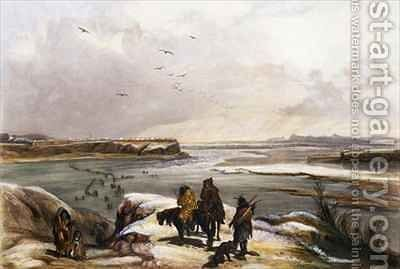 Fort Clark on the Missouri by (after) Bodmer, Karl - Reproduction Oil Painting