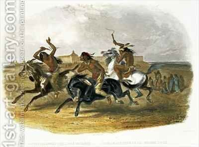 Horse Racing of Sioux Indians near Fort Pierre by (after) Bodmer, Karl - Reproduction Oil Painting