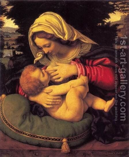Madonna of the Green Cushion c. 1507 by Andrea Solari - Reproduction Oil Painting