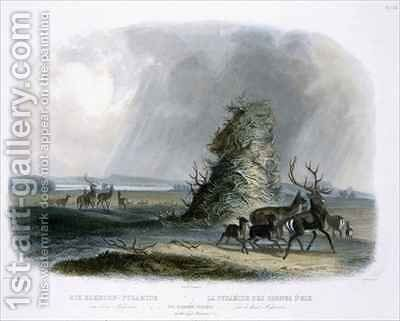 The Elkhorn Pyramid on the Upper Missouri by (after) Bodmer, Karl - Reproduction Oil Painting