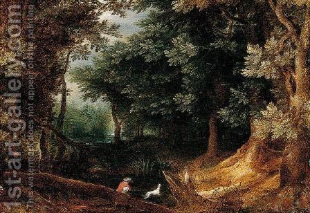 A Wooded Landscape With Sportsmen by (after) Jan The Elder Brueghel - Reproduction Oil Painting