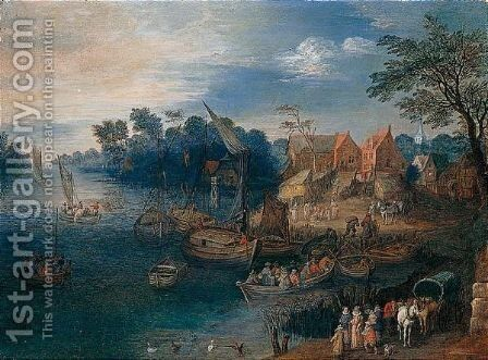 A River Landscape With Travellers Near A Village by (after) Joseph Van Bredael - Reproduction Oil Painting