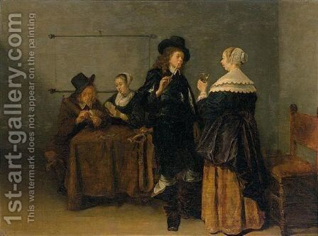 An Interior Scene With Figures Smoking, Drinking And Playing Cards by (after) Quirin Gerritsz. Van Brekelenkam - Reproduction Oil Painting