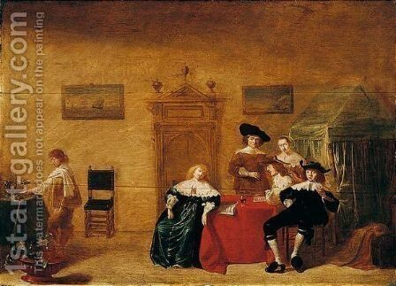 Interior With An Elegant Company by Jan Olis - Reproduction Oil Painting