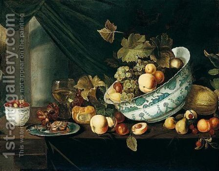 Still Life With Fruit Tumbling From A Porcelain Bowl, On A Wooden Table by Michiel Simons - Reproduction Oil Painting