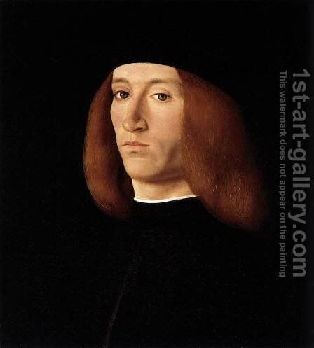 Portrait of a Young Man after 1490 by Andrea Solari - Reproduction Oil Painting