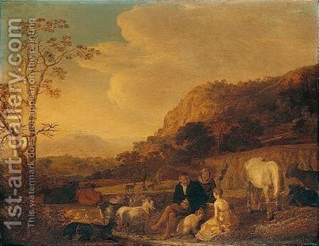 A Summer Landscape With Harvesters Resting by Cornelis Saftleven - Reproduction Oil Painting