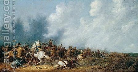 A Cavalry Engagement by Abraham van der Hoef - Reproduction Oil Painting