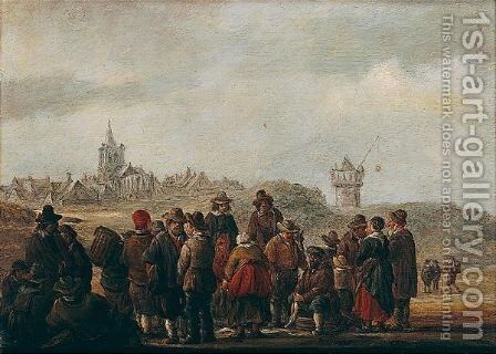 A Beach Scene With Fishermen Selling Their Catch by Jan De Vos - Reproduction Oil Painting