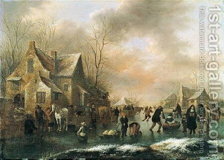Winter Landscape With Numerous Figures Upon A Frozen Canal In A Village by Claes Molenaar (see Molenaer) - Reproduction Oil Painting