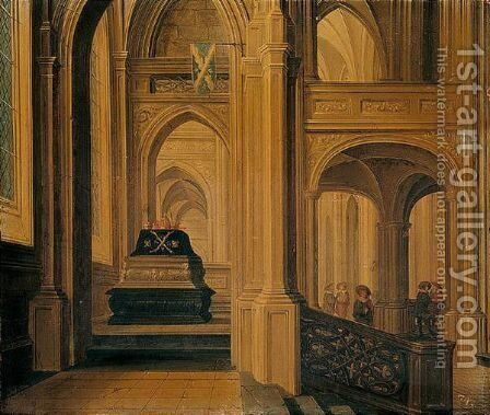 A Church Interior With A Royal Tomb by Dirck Van Delen - Reproduction Oil Painting