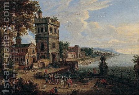 Harbour Scene With Orientals On A Quay by Mathys Schoevaerdts - Reproduction Oil Painting