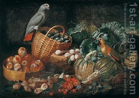 Still Life With Parrots, Pumpkins, Tomatoes, Figs, Peaches And Plums In Baskets by Jacob van der (Giacomo da Castello) Kerckhoven - Reproduction Oil Painting
