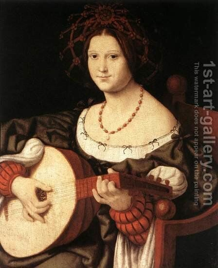 The Lute Player c. 1510 by Andrea Solari - Reproduction Oil Painting