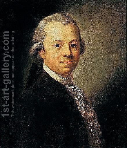 Portrait Of Christoph Friedrich Nicolai, Bust Length by Anton Graff - Reproduction Oil Painting
