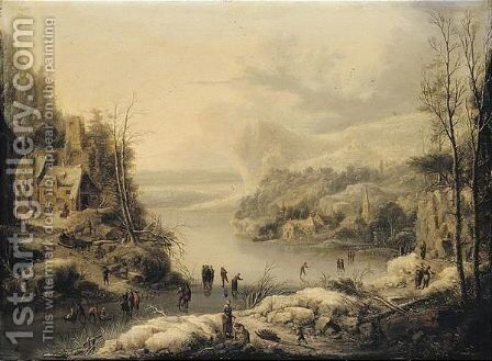 A Frozen Lake In A Mountainous Landscape With Numerous Figures Skating Near A Village by Johann Christian Vollerdt or Vollaert - Reproduction Oil Painting