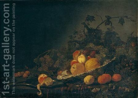 Still Life Of Quinces, Plums, Peaches And Grapes In A Silver Salver, Together With A Peach And A Peeled Lemon On A Silver Plate, A Knife, Grapes, Oranges, Lemons And Apricots On A Table Partly Draped With A Red Cloth by Abraham Van Calraet - Reproduction Oil Painting