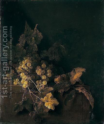 A Still Life Of White And Red Grapes On A Stone Ledge by Gregorius De Coninck - Reproduction Oil Painting