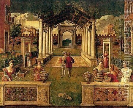 An Architectural Capriccio With Elegant Figures And Animals Promenading In An Ornamental Garden by (after) Bonifacio Veronese (Pitati) - Reproduction Oil Painting